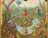 Dreaming: Fantasy landscape art print 12x15, Surreal landscape with curious creatures, Mystical art print, Magical nursery art