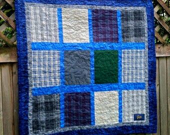 """Custom Repurposed, Upcycled, Memory Quilt 36"""" X 36"""" or Any Size"""