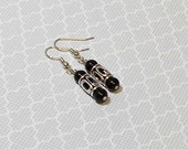Black Pearl With Antique Silver Lantern Dangle Earring