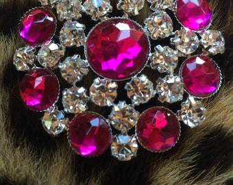 Pink crystal round rhinestone brooch pin tea party wedding bridal shower free shipping