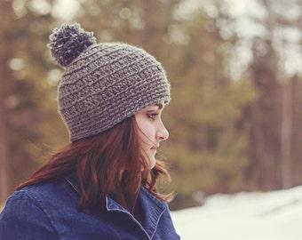 Satin Lined Pom Pom Beanie, Womens winter hat, warm winter hat, womens beanie hat, satin lined hat
