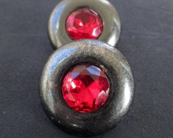 Red Rhinestone earrings, vintage round geometric gunmetal clip on earrings