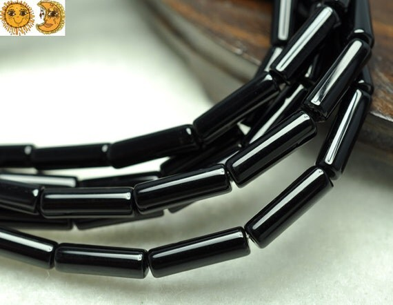 15 inch strand of natural Black Onyx smooth tube beads,column beads,cylinder beads 4x13mm