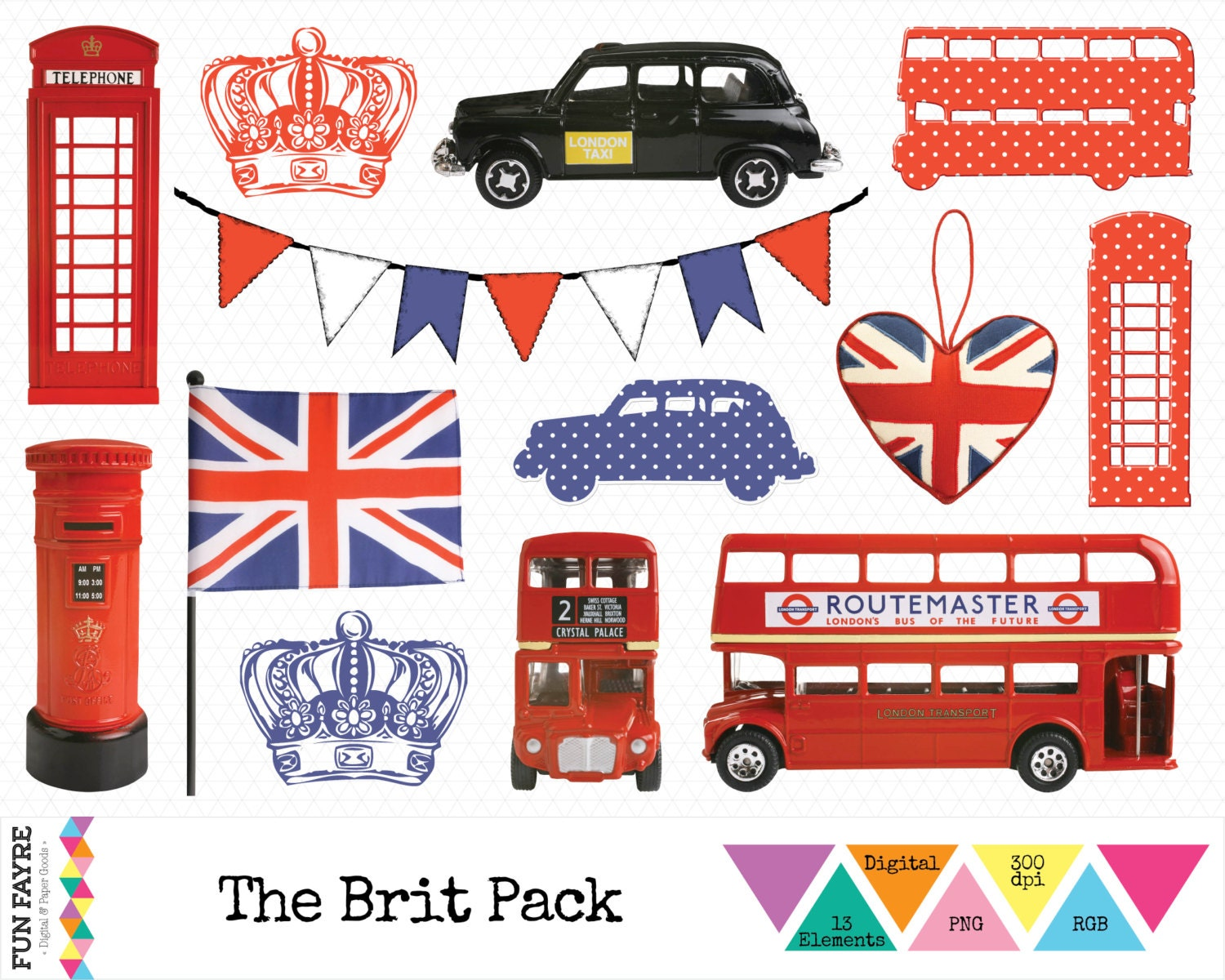 BRITISH CLIP ART Iconic London Bus Taxi Union Jack by FunFayre
