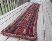 Harvest Table Runner, Crochet Rag Rug Long Rectangle Table Cotton Washable Handmade, Bathmat, Kitchen, Porch, Red Fall Bedroom