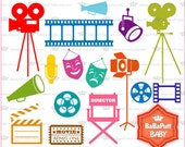 Buy 2 Get 2 Free ---- Movie Night Silhouette Clip Art ---- Personal and Small Commercial Use ---- BB 0829
