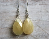 Sale today only!- Yellow Teardrop Earrings - Yellow Jade and Labradorite - Silver  Gemstone Earrings - Wire Wrapped Jewelry Handmade
