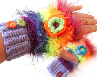 Fingerless crochet wrist/ arm warmers. Rainbow Mixed wools. Fluffy stripes. Fun Winter gift for her. Adult size, luxuriously warm and cosy