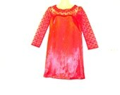 Illusion Dress - Red Dress - Satin Dress - Lace Dress - Size 10 - Size 8 - By Rebeccas Clothes