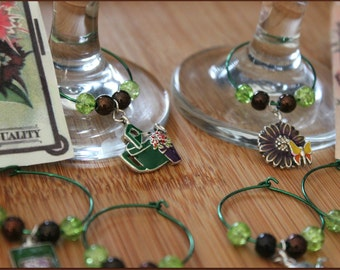 Garden Party Wine Charms