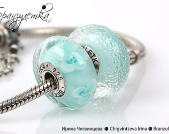 Mint - set 2 pc green glass mint European Beads lampwork - Charm with a large hole - 925 silver core