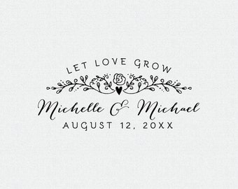 Let Love Grow, Personalized Flower Seed Wedding Favor, Personalized Rubber Stamp, Custom Stamp, Self Inking Stamp, Wood Stamp (T180)