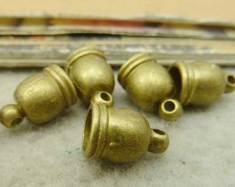 50PCS antique bronze 8x12mm tube Bead Tassel Caps Cord Ends- WC5329