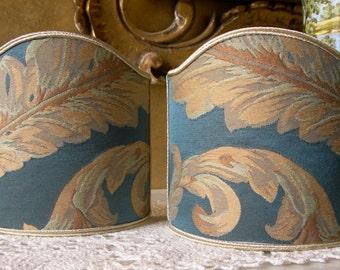 Pair of Clip-On Shield Shades Rubelli Blue Labuan Damask Fabric Mini Lampshade