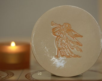 Angel Ceramic Dish Christmas Gift Ivory Pottery Ring Dish Holliday Decor Small Round Plate Jewelry Dish