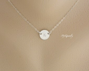 SILVER Disc Initial Necklace, Bridesmaid Jewelry, Flower Girl Necklace, Bridesmaid Gift, Kids Jewelry, Simple Jewelry, Bridal Party Gift