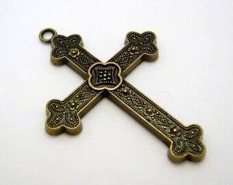cross pendant - bronze tone - 60mm - 1 cross