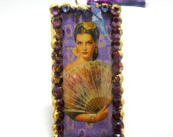 "destash - handmade soldered pendant with swarovski crystals - 4"" x 2"""