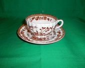 One (1), Footed, Bone China Tea Cup & Saucer, from Spode China, in the Indian Tree, Orange-Rust 2/959K Pattern.