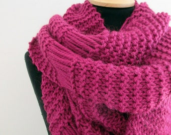 Long knit scarf, soft wool scarf for women, pink chunky wool scarf, hand knit scarf, soft and cozy