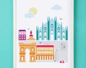 Milan Italy Art Print for Nursery or Children's Room Decor