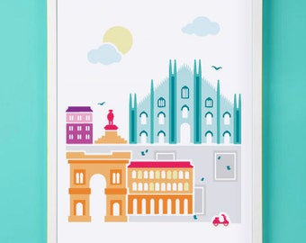 Milan Italy Art Print for Nursery or Children's Room Decor