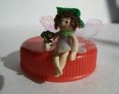 "OOAK micro mini polymer clay flower fairy - less than 1 1/4"" tall"