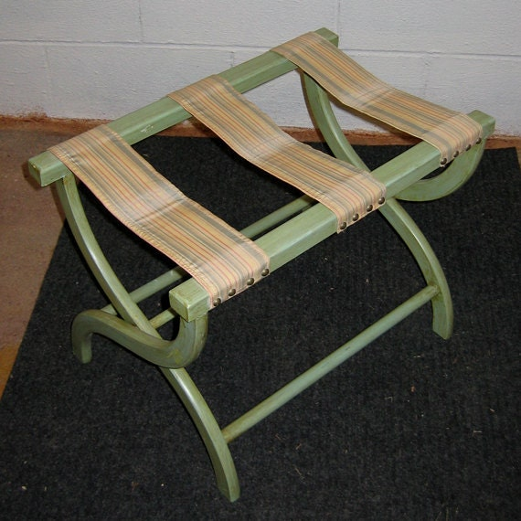 Vintage Folding Luggage Rack Faux Finished By Greensagedotcom