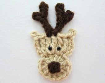 "1pc 3,3/4"" Crochet REINDEER Face Applique"