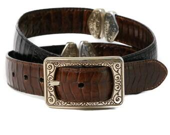 Reversible 100% Stamped Leather Belt - Vintage 90's