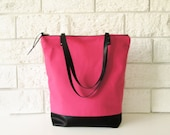 Coral Pink Tote bag, Shoppers bag, Casual Tote bag, Everyday Tote, Salmon pink, Black straps