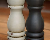 CHOOSE YOUR COLOR - Painted,Distressed, Wooden Salt and Pepper Shaker Set - Graphite and Grey