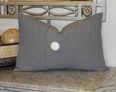 Grey lumbar button pillow cover, 12x18 decorative sofa throw pillow, home decor accent. Grey home decor accent pillow