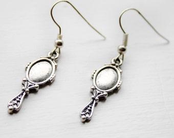 Looking Glass silver earrings - hand mirror, ornate, fancy, jewellery, mirror, jewelry, Victorian, Regency, Jane Austen, Edwardian
