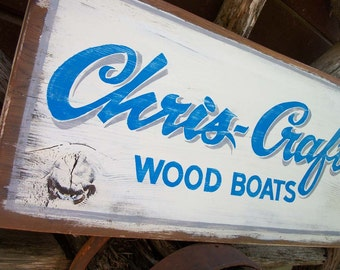 Vintage look Boat Sign.  Chris Craft wooden sign, hand lettered, not a stencil.