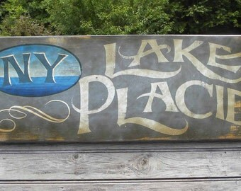 Lake Placid Lake Sign  , hand painted, original ZD LP 1