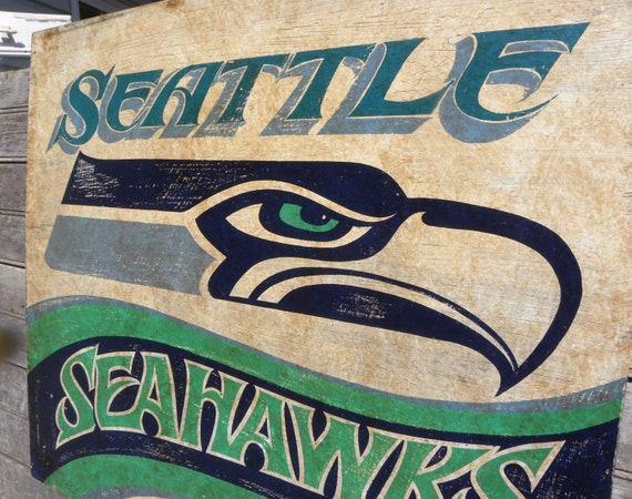 seattle seahawks sign original wooden sign hand lettered