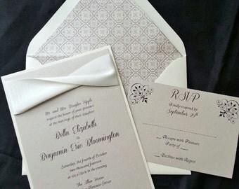 SAMPLE Bella Elegant Wedding Invitation, Traditional Wedding, Classic Wedding, Ribbon Wedding Invitation, Wedding Invitation, Simple Wedding