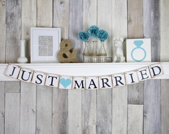 Just Married Banner, Just Married Sign, Just Married Car Sign, Just Married Photo Prop, Wedding Banner, Blue