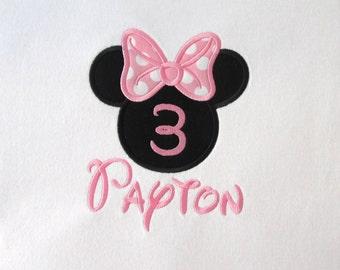 BIRTHDAY SHIRT -  PERSONALIZED Shirt - Minnie Mouse - Girl - Named Shirt - Number Shirt - Shirt - Toddler - Clothing - Monogram
