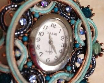 Beautiful Blue beaded Narmi Bracelet Watch