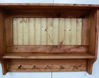 Primitive wall shelf, Antique style coat rack, primitive hat rack, shaker pegs, Shaker Wall shelf, bead board shelf, rustic coat rack
