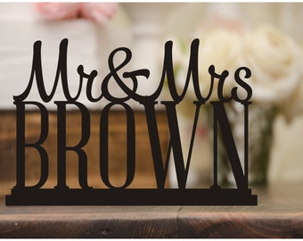 Personalized Wedding Table Sign with Your Last Name - Wedding Cake Table Sign