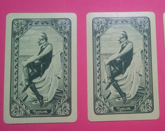 3 vintage playing cards Neptuna (E2-237-1)