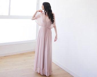 Blush pink maxi sheer chiffon dress, Blush bridesmaids dress with bat-wings sleeves 1027