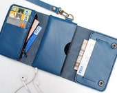 iPhone5 dark blue Trifold leather iphone wallet  wristlet  with zipper