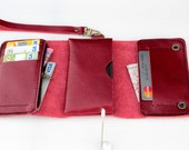 Classic red  Trifold leather iphone wallet  wristlet  with zipper
