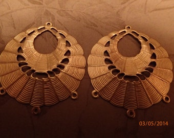 Vintage 1960's Brass Colored Earring Findings/Round/PJsBeadedEagle