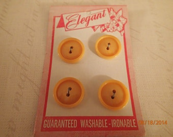 Vintage 1960's Elegant Plastic Buttons/Yellow and Brown on Cards/PJsBeadedEagle