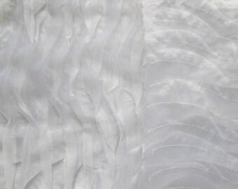 White Wavy Organza 58 Inch Wide Fabric By The Yard